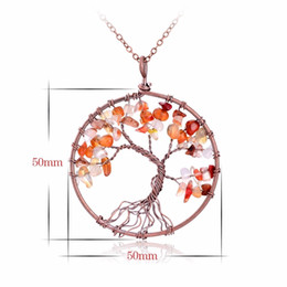 Wholesale Unique Crafts - Tree Of Life Pendant Necklace Copper Crystal Natural Stone Chakra Link Chain Necklace Women Christmas Handmade Gift Unique Quartz Crafts