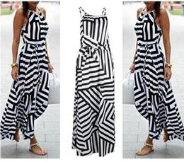 Wholesale Long Asymmetrical Stripe Dresses - HOT New Womens Sexy Bandage Celebrity Long Maxi Dress Ladies Summer Casual Boho Stripe Beach Party Halter Sun Dress