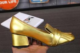 Wholesale Red Dress Black Fringe - Fashion Brand Tassel Women Pumps Chunky heels Square toe Fringe Dress Wedding Party Shoes Genuine Suede leather Ladies Pumps