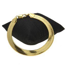 2019 bracelete de pulseira de ouro plano 1 CM de cobre cobra serpentes pulseiras mens moda ouro cheio de designer plana cobra link pulseiras para homem luxo Hip Hop jóias acessórios bracelete de pulseira de ouro plano barato