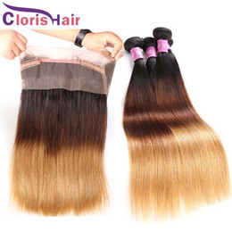 Wholesale Bundle Hair Silk Straight - Ombre 360 Lace Frontal With 3 Bundles Silk Straight Brazilian Virgin Human Hair Weaves Full Frontals Closures Piece Honey Blonde T1b 4 27