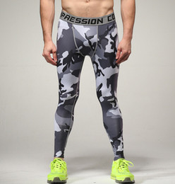 Wholesale Camouflage Leggings Wholesale - Wholesale- Compression Pants Army Camouflage Jogers Leggings Tights Fitness Fashion Casual Mens Pants Trousers Brand Clothing