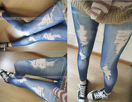 Wholesale Tight Cotton Legging - Wholesale- Hotwomen denim tight slim pencil pants ripped jeans legging render pants leggings