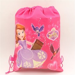 Wholesale Wholesale Princess Drawstring Backpack - Wholesale- 1pc\lot Birthday Party Sofia Princess Drawstring Gift Bags Kids Favors Decoration Baby Shower Supplies Non-Woven Fabric Backpack