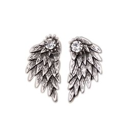 Wholesale Cool Earrings Women - New Gothic Crystal Cool Angel Wings Stud Earrings For Women In Gold Color Silver Black Plated Jewelry