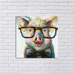 Wholesale Modern Nude Oil Paintings - Framed Abstract Lovely Pig,Hand Painted Modern Cartoon Animals Art Oil Painting,Home Wall Decor On High Quality Canvas in Multi sizes 005