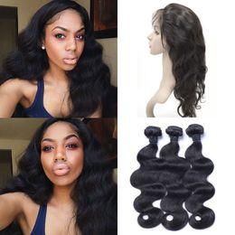 Wholesale Eurasian Human Hair Weave - Eurasian Body Wave 360 Frontal With 3pcs Hair Bundles Natural Color Virgin Wavy Human Hair With 360 Lace Frontal G-EASY