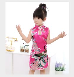 Wholesale Chinese Style Flower Girl Dresses - Fashion Chinese Style Girls Dress Newest Flower Birds Cotton Children's Clothing Kid's Qipao Dress Children's Performing clothing