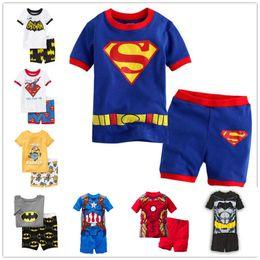 Wholesale Boys Pyjamas Cotton - Wholesale- 2016 new summer cotton short sleeve clothes sets kids pajamas girls pijama boys children's pyjamas walking clothing