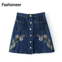 Wholesale Mini Short Jeans Female - Fashioneer Fashion Heavy Floral Embroidery Women Denim Skirts Women High Waist Mini Skater Skirt Denim Short Jeans Skirt Female