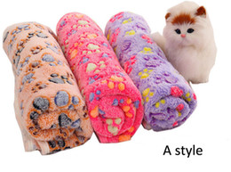 Wholesale Pet Warming Blanket - 2017 Pet Blanket Cute Warm Det Bed Mat Cover Small Medium Large Towl Paw Handcrafted Print Cat Dog Fleece Soft Blanket