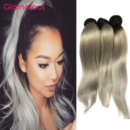 Wholesale Wholesale Gray Weaving Hair - Glamorous Brazilian Ombre Hair Weaves #1B Gray Human Hair Extensions 3Pcs Ombre Gray Hair Wefts Peruvian Malaysian Indian Body Wave Straight