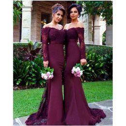 Wholesale Color Wine Red Dress - 2017 Red Wine Burgundy Bridesmaid Dresses Off Shoulder Long Sleeves Mermaid Maid Of Honor Gowns Elegant Vestidos De Madrinha