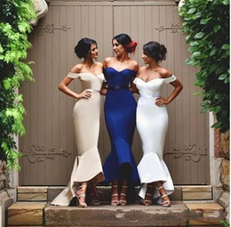 Wholesale Mermaid High Low Prom Dresses - Chic Mermaid Bridesmaid Dress 2016 Cheap Long Off the Shoulder High Low Satin Prom Gowns Custom Made Hi-Lo Beach Bridesmaid Gowns