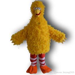 caráter, trajes, amarelo Desconto Rua Sésamo Grande Pássaro Amarelo Mascot Costume Personagem de Banda Desenhada Traje Do Partido Frete Grátis