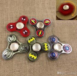Wholesale Flash Spiderman - Zinc alloy the avengers Super Hero Captain America Fidget Hand Spinners Spiderman Superman Iron Flash hand spinners aa201