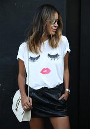 Wholesale Basic Cap - Ladies Casual O-Neck Short Sleeve Eyelash Red Lips Print Pattern Tops Womens Round Neck Blouse T-Shirt Basic Shirt Tee Jumper