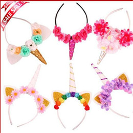 Wholesale Diy Flower Hair Band - 9 Style Glitter Flowers Unicorn Horns Headband Head Bands for Girls And Kids 2017 Fashion DIY Cosplay Party Hair Accessories