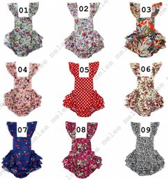 Wholesale Jumpsuit Vintage Wholesale - INS Vintage Summer Woven Floral Leopard Baby Bubble Romper Flutter Sleeve Ruffle Baby Girls Playsuit Backless Cross Romper Baby Jumpsuits