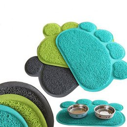 Wholesale Dog Wipes - Use Lovely PVC Dog Paw Shape Cup Placemat Pet Puppy Cleaning Feeding Dish Bowl Table Mats Pad Wipe Easy Cleaning