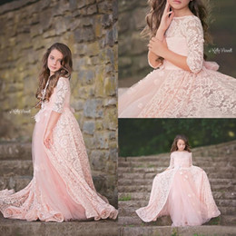 Wholesale Tulle For Sale Cheap - Hot Sale 2017 New Blush Pink Lace And Tulle A-line Flower Girls Dresses For Wedings Cheap Half Sleeve Girls Birthday Party Gown EN12154