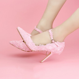 Wholesale Wedding Dresses Feast - Sweet pink lace flower bride shoes ultra-high word wristbands with fine with single shoes female wedding dress shoes the feast