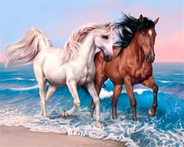Wholesale Abstract Horse - 5D needlework Diy diamond painting cross stitch kits full resin round diamond embroidery Mosaic Home Decor animal horse y0187