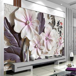 Wholesale Lotus Paper Wallpaper - Wholesale- photo wallpaper Art lotus modern minimalist living room TV wall wallpaper embossed backdrop wall paper mural painting modern