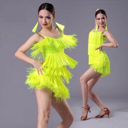 Wholesale Latin Dress Fringe Black - 2017 new Girls Kids adult Modern Ballroom Latin Dance Dress tassel Fringe Salsa Tango Dance Wear Black Performance Stage Wear