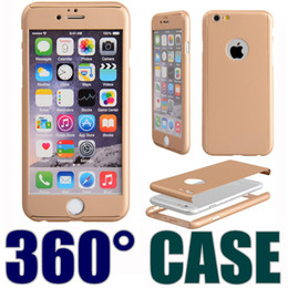 Wholesale Iphone Cases B - DHL Ultra-thin 360 Degree Full Body Protective Cover with Tempered Glass Screen Protector For Apple iPhone 6 6S 7 Plus Phone Case B-SW