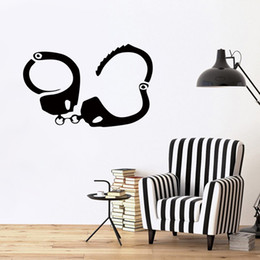 Wholesale Pink Handcuff - Judicial Police Equipment Handcuffs Funny Car Stickers Vinyl Wall Art Decals Suitable For Home Decoration Bedroom Living Room Diy
