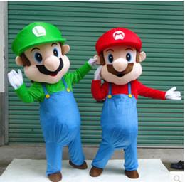 Wholesale Mario Luigi Costumes - New Super Mario and Luigi 2 Mascot Costume Fancy Dress Cartoon Suit Adult Size