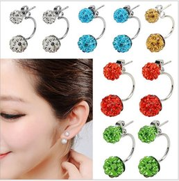 Wholesale Disco Ball Earrings Mix Colors - Fashion Shamballa Earrings 925 Silver 8MM + 10MM Pave Disco Ball Crystal Earrings Mix Colors 5