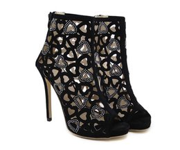 Wholesale Shape Up Sandals Women - Hot sale summer fashion women new sexy hollow diamond go-go high-heeled shoes black heart-shaped pattern woman Gladiator sandal