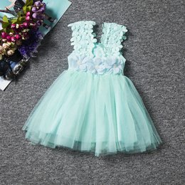 Wholesale Pleat Cyan - New girls lace hollow dresses girls fashion dresses flowers net yarn Peng Peng children girl skirt
