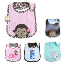 Wholesale Embroidered Burp Cloths - Wholesale- Terry Clothes Baby Girls Bibs Pinafore Embroidered Waterproof bibs & burp cloths Newborn Saliva Towel dribble bibs