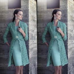Wholesale Turquoise Lilac - 2017 New Turquoise Plus Size Mother Of Bride Pant Suits Jacket Green Vintage Lace Knee Length Satin Cheap Bride Groom Prom Gowns