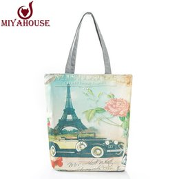 Wholesale Eiffel Handbag - Wholesale-New Arrival Daily Handbags Women Floral Printing Shoulder Bags Ladies Eiffel Tower Printed Bags Shopping Handbags Women