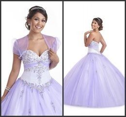 Wholesale Jacket For Quinceanera - Bandage Elegant Crystals Dresses For Quinceanera Sweet 16 Girls Wear Lace Up Back Sparked Bling Prom Dress With Jacket Modest Sexy