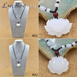 Wholesale Jade Carved Flower Pendant - Wholesale-Hand Carved Natural White Jade Snow Lotus Flower Beads Pendant Chain Necklace