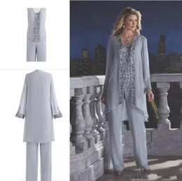 Wholesale Lilac Beach Wedding Dresses - Gray 2017 Mother Of The Bride Three-Piece Pant Suits Chiffon Beach Wedding Mother's Groom Dresses Long Sleeves Wedding Guest Dresses
