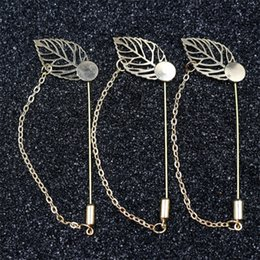 Wholesale 14k Stick Pin - Silver Plated Copper Leaf chain design Plated Copper Hat Brooches pins Stick lapel pin base for women men's Diy Jewelry Findings Accessories