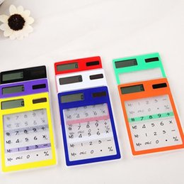 Wholesale Pocket Calculators - Solar energy transparen Touch Screen Calculator Creative stationery Compact And Portable High Quality Hot Sell 4 9br F R