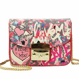 Wholesale Mini Love - 2017 Summer Graffiti Love Mini Plap Women PU Shoulder Bags Handbags Women Famous Brands Cover Chain Crossbody Bags For Women