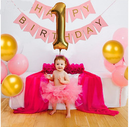 Wholesale Cm Birthday - 1st Pink Birthday Bunting Banner Flag 40'' number 1 foil balloons baby shower girls Birthday decoration globos party supplies