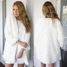 Wholesale Winter Shorts Womens - Wholesale- New Womens Fluffy Shaggy Faux Fur Cape Coat Jacket Winter Outwear Cardigan Tops