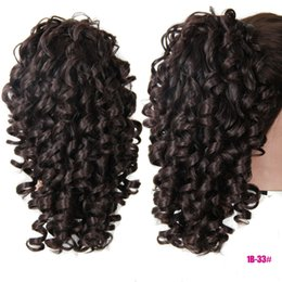 Wholesale Hair Extensions Claw Clips - Wholesale- Claw Clip Synthtic Ponytail Extension Kinky Curly Drawstring Ponytail Tress Hair Ponytails Paardenstaart Red Brown Black 3 Color