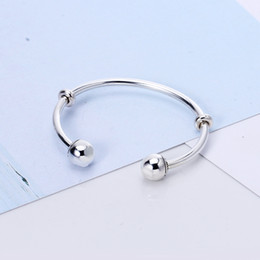 Wholesale Stopper Beads Clasp - Genuine 925 Sterling Silver Bangles With Stopper Fit Pandora Charms Beads Factory Wholesale