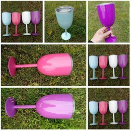 Wholesale Colored Glass Mugs - Colored Wine Glasses Stainless Steel 10oz Kitchen Cups Tumber Double Wall Insulated Metal Goblet With Lid Tumbler Mugs Free Shipping