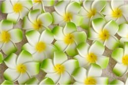 Wholesale Wholesale Hawaiian Hair Clip - Wholesale 700Pcs lot 7cm Plumeria Hawaiian Foam Flower For Wedding Party Hair Clip Flower bouquet Decoration